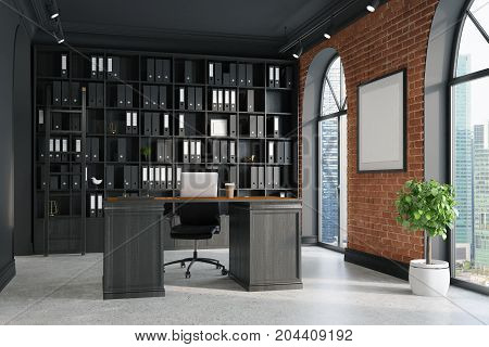 Ceo Office, Bookcase And Table