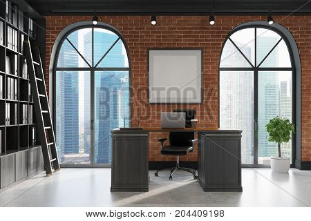 Ceo Office, Bookcase And Table, Ladder Side