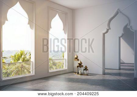 Empty Room, Arabic Style Doors, Window Side Toned