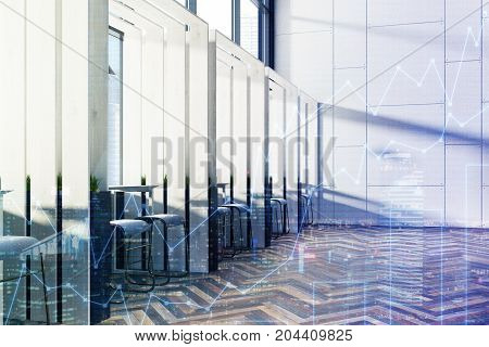 Side view of a wooden cafe interior with loft windows a woden floor panel walls and rows of long tables with chairs near them. 3d rendering mock up toned image double exposure
