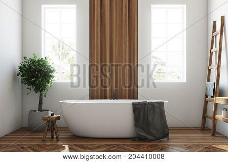White And Wooden Bathroom, White Tub Closeup