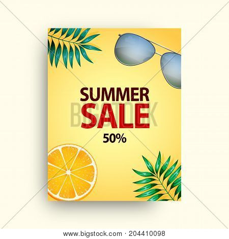 Summer sale vector poster set with 50 off discount text and summer elements in colorful backgrounds for store marketing promotion. Vector illustration.