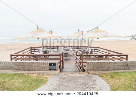 SWAKOPMUND NAMIBIA - JUNE 30 2017: Outdoor section of a restaurant at the Molen in Swakopmund in the Namib Desert on the Atlantic Coast of Namibia
