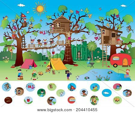 game for children: visual game of landscape with happy children