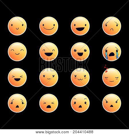 Yellow emoticons with different emotions, vector set of various cute expressions, EPS 10