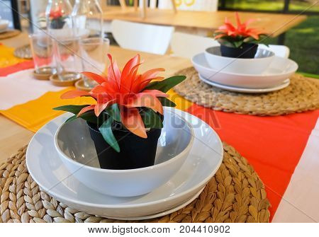 Decorative Artificial Plant with Orange Blossom in Flowerpot for Home and Building Decoration.