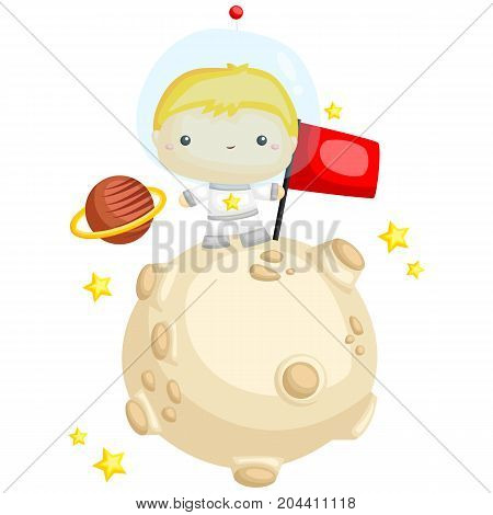 a boy in the star and moon holding a flag