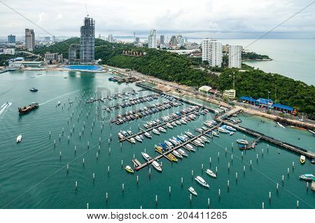 Topview Marine station Luxury yachts and private boats seaport in Marine station complex Pattaya province Thailand