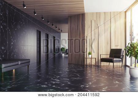 Black Marble And Wooden Elevator Hall, Toned