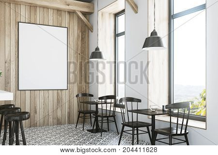 Wooden Bar, White Stand And Tables Side