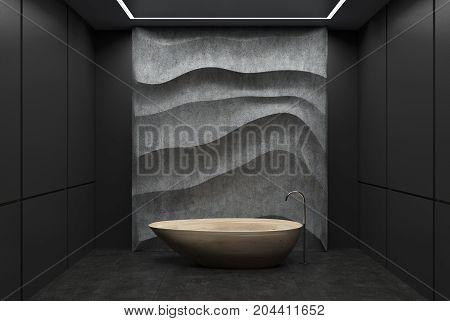Black And Concrete Bathroom, Wooden Tub
