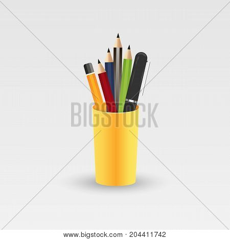Colored pencils in a glass for office. Vector illustration isolated on white background