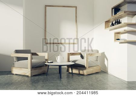 White Living Room, Armchairs, Poster