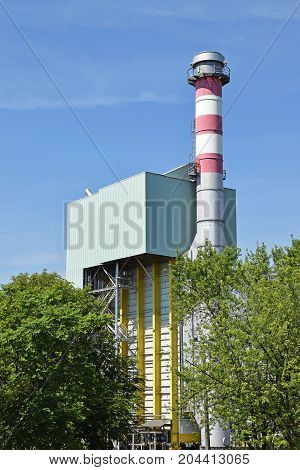 Smoke stack of the power plant in the city