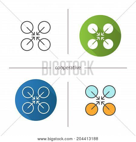Cooperative symbol icon. Flat design, linear and color styles. Cooperation and teamwork abstract metaphor. Isolated vector illustrations