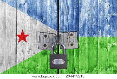 Djibouti flag on door with padlock close