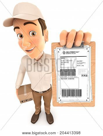 3d delivery man signature request illustration with isolated white background