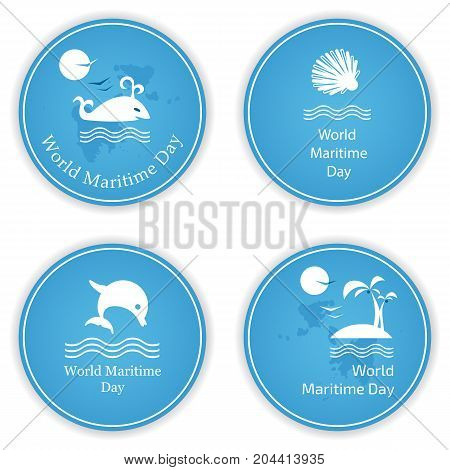 Set of four round icons on the theme of the World Maritime Day. Vector illustration