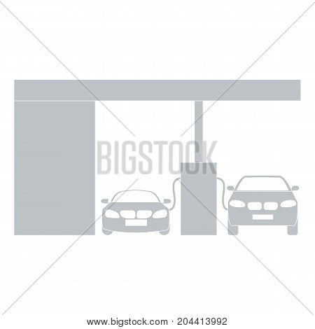Stylized icon of the petrol station with two cars on a white background