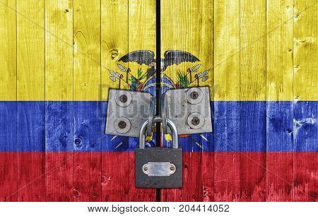 Ecuador flag on door with padlock close