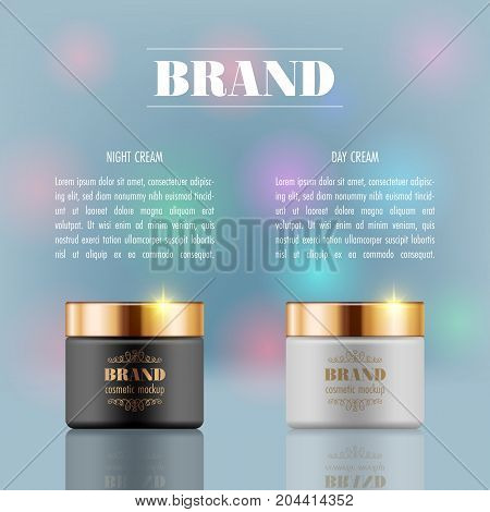 Set of cosmetic products on blue background. Packaging template. Vector illustration