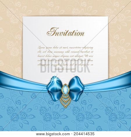 Retro background with silk bow. Greeting card or invitation template. Vector Illustration
