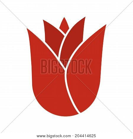 Rosebud glyph color icon. Rose flower head. Silhouette symbol on white background. Negative space. Vector illustration