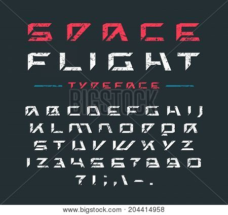 Futuristic font with rust texture. Letters and numbers for sci-fi military cosmic logo and title design