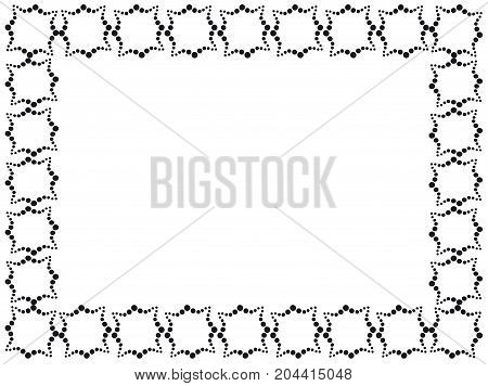 Rectangular frame made of decorative elements in black color.