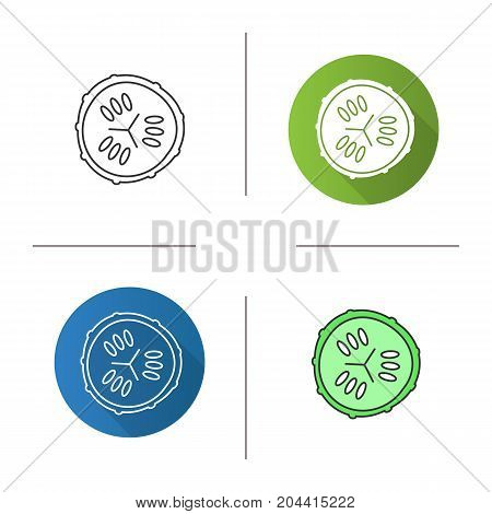 Cucumber slice icon. Flat design, linear and color styles. Spa. Cucumber facial mask. Isolated vector illustrations