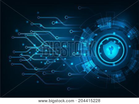 Cyber security concept: Padlock With Keyhole icon on digital data background. Illustrates cyber data security or information privacy idea. Blue abstract hi speed internet technology.