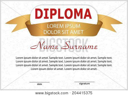 Diploma or certificate. Elegant design with golden ribbon. Vector illustration.