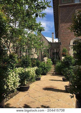 Garden pathway next to a church in Washington, DC