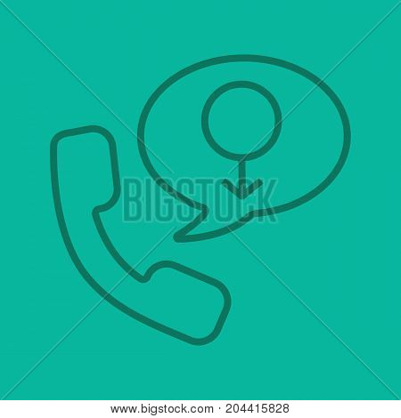 Men's consultation linear icon. Handset with men gender sign inside speech bubble. Thin line outline symbols on color background. Vector illustration