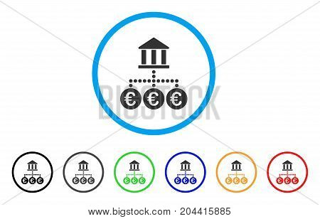 Euro Bank Transactions icon. Vector illustration style is a flat iconic euro bank transactions grey rounded symbol inside light blue circle with black, gray, green, blue, red,