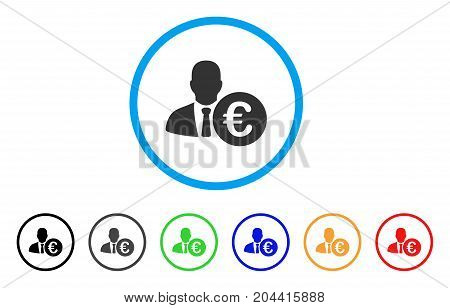 Euro Banker icon. Vector illustration style is a flat iconic euro banker gray rounded symbol inside light blue circle with black, gray, green, blue, red, orange color variants.