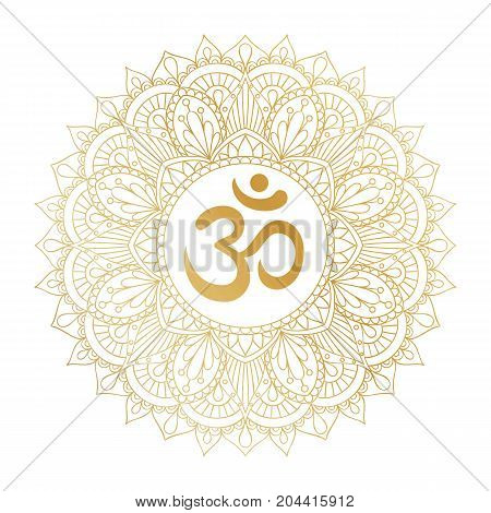 Golden Aum Om Ohm symbol in decorative round mandala ornament.