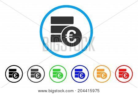 Euro Database icon. Vector illustration style is a flat iconic euro database gray rounded symbol inside light blue circle with black, gray, green, blue, red, orange color variants.