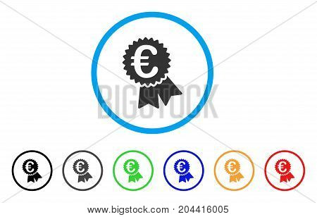 Euro Featured Price Tag icon. Vector illustration style is a flat iconic euro featured price tag gray rounded symbol inside light blue circle with black, gray, green, blue, red, orange color variants.