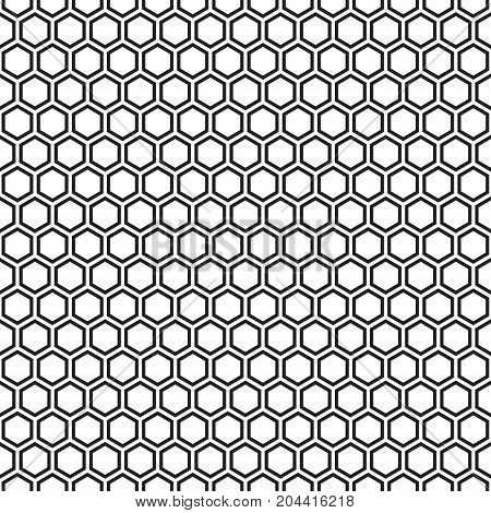 Seamless hexagonal honeycomb pattern texture background. Black and white pattern.
