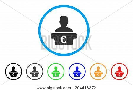 Euro Politician icon. Vector illustration style is a flat iconic euro politician gray rounded symbol inside light blue circle with black, gray, green, blue, red, orange color variants.