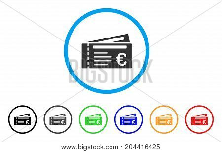 Euro Tickets icon. Vector illustration style is a flat iconic euro tickets grey rounded symbol inside light blue circle with black, gray, green, blue, red, orange color variants.