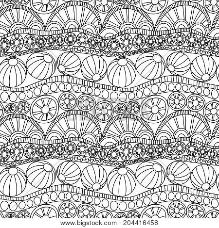 Doodle abstract seamless ornament. Coloring page doodle ornament. Monochrome seamless pattern for coloring. Monochrome textile doodle pattern. Repeating doodle abstract background.