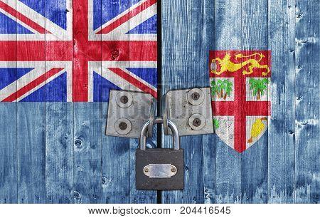 Fiji flag on door with padlock close
