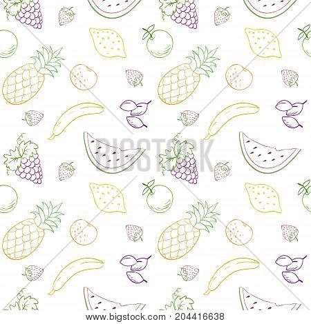 Seamless vector pattern with fruits and berries.Vector fruits pattern. Fruits seamless background. Repeating vector background with fruits. Fruits contour vector pattern. Fruits and berries vector.