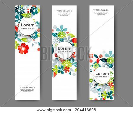 Set of abstract web banner templates for your site or blog with floral background