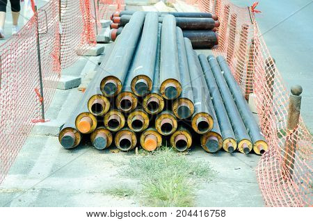 New pipes for new pipeline prepared to be installed in district heating system in the city