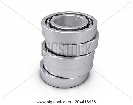 Ball bearings on a white background. 3d illustration.