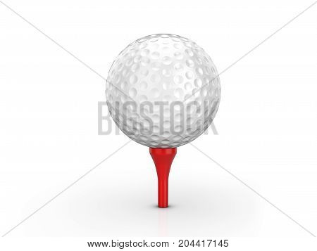 Golf ball and tee on a white background. 3D illustration.
