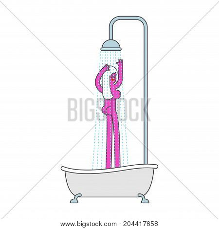 Bath with shower and girl. Bathroom woman. Vector illustration